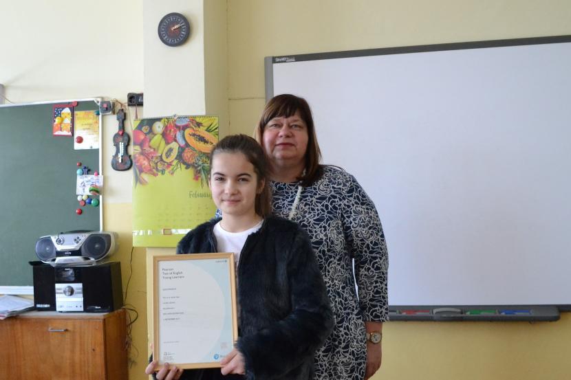 Jelgavas skolniecei starptautiski atzīts angļu valodas prasmes sertifikāts